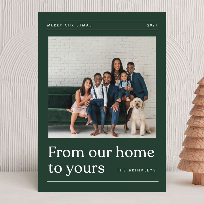 """""""House News"""" - Holiday Photo Cards in Evergreen by Amy Kross."""