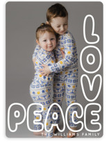 This is a white holiday photo card by Baumbirdy called Peace and Love Letters with standard printing on signature in standard.
