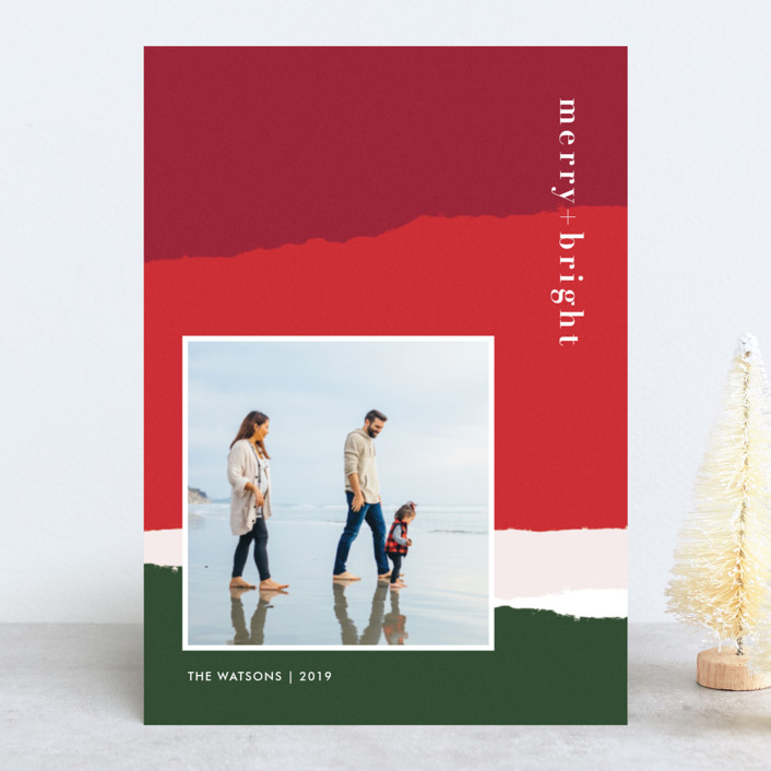 """torn paper"" - Modern Holiday Photo Cards in Festive by Robin Ott."