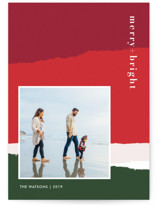 This is a red holiday photo card by Robin Ott called torn paper with standard printing on smooth signature in standard.