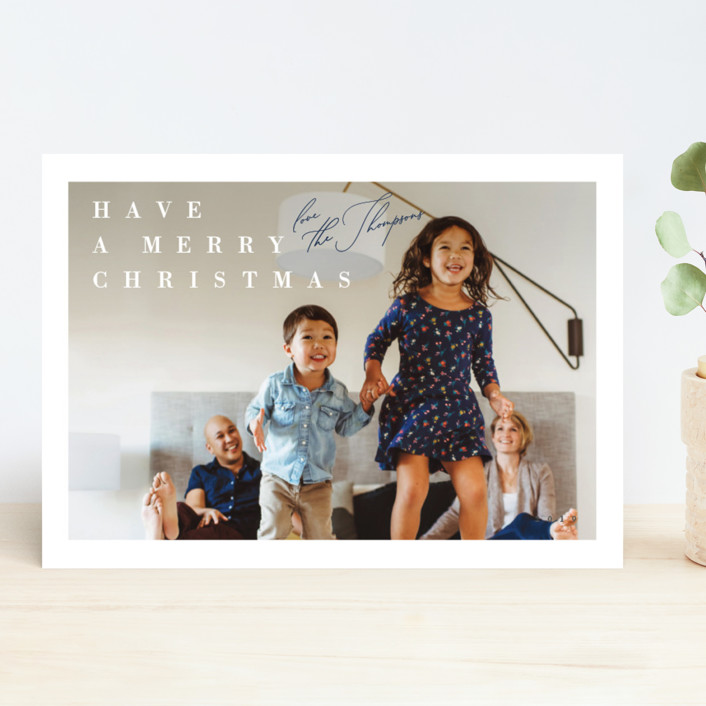 """""""Light Hearted"""" - Holiday Photo Cards in Navy by Carrie ONeal."""
