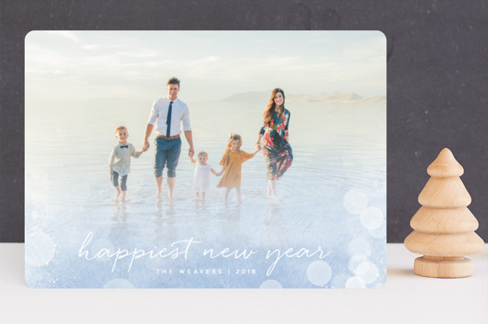 """Radiant"" - Bohemian Holiday Photo Cards in Bluebell by Olivia Raufman."