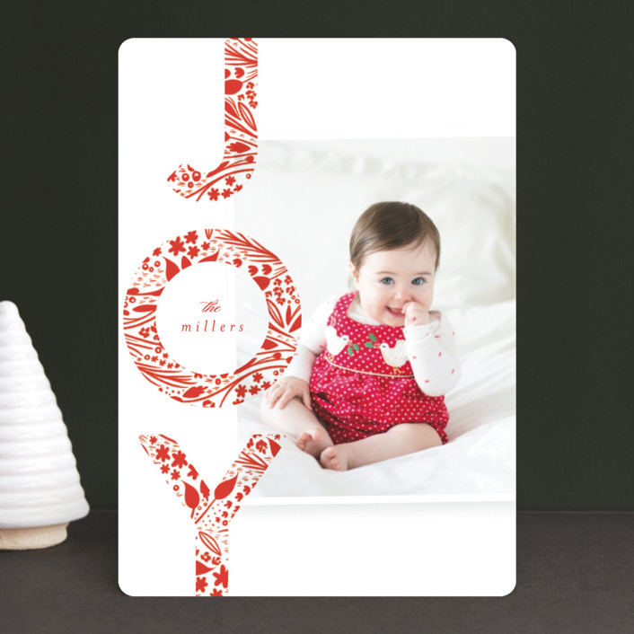 """Big Bright Joy"" - Holiday Photo Cards in Poinsettia by Angela Marzuki."