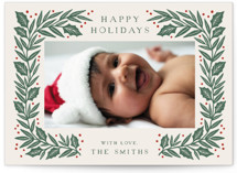 This is a green holiday photo card by Katharine Watson called Sketched Holly Frame with standard printing on smooth signature in standard.