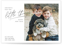This is a black holiday photo card by Lindsay Stetson Thompson called grateful things with standard printing on smooth signature in standard.