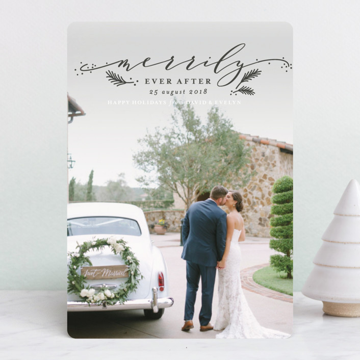 """""""Merrily Forever"""" - Holiday Photo Cards in Charcoal by Shirley Lin Schneider."""