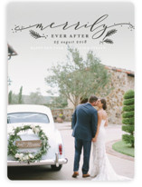 This is a grey holiday photo card by Shirley Lin Schneider called Merrily Forever with standard printing on smooth signature in standard.