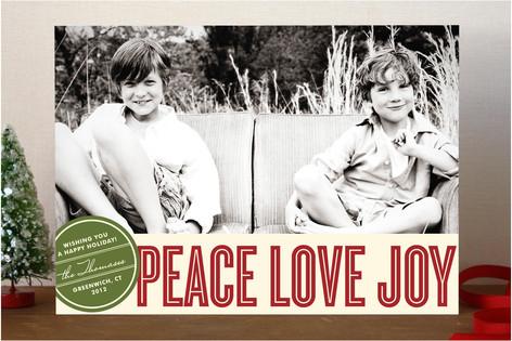 Retro Peace Holiday Photo Cards