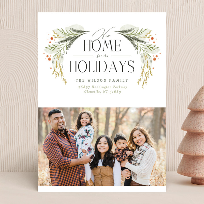 """""""New Home Garland"""" - Holiday Photo Cards in Wreath by Erin L. Wilson."""
