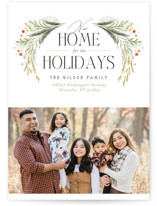 This is a green holiday photo card by Erin L. Wilson called New Home Garland with standard printing on smooth signature in standard.