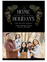 This is a black holiday photo card by Erin L. Wilson called New Home Garland with standard printing on recycled smooth signature in standard.