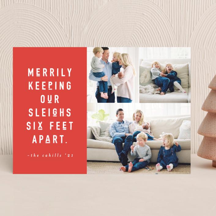 """Six Feet"" - Funny Holiday Photo Cards in Cinnamon by Abby Munn."