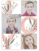 This is a pink holiday photo card by Hannah Williams called joy floral with standard printing on smooth signature in standard.
