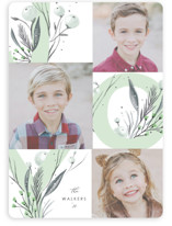 This is a green holiday photo card by Hannah Williams called joy floral with standard printing on smooth signature in standard.