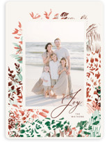 This is a red holiday photo card by Kayla King called Christmas Garden with standard printing on smooth signature in standard.