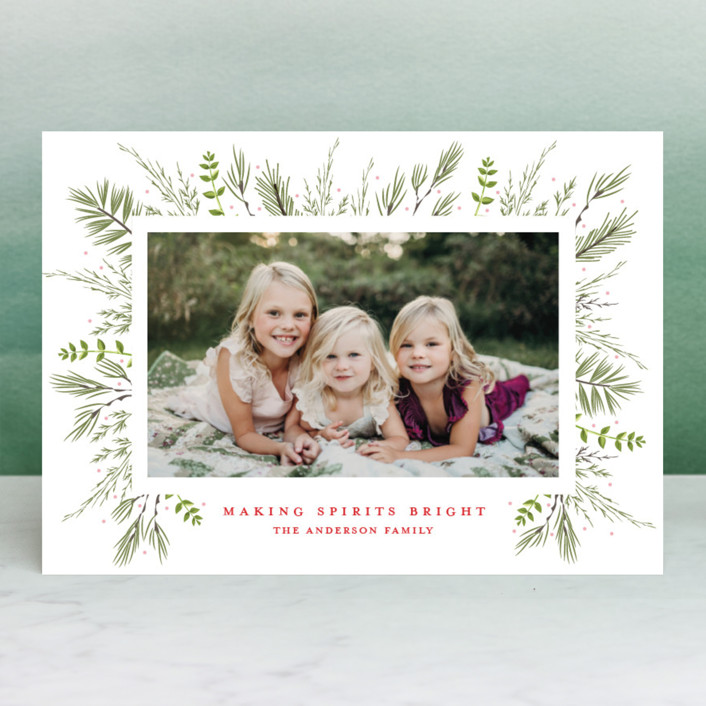 """""""Bed of Greens"""" - Holiday Photo Cards in Crimson by Susan Moyal."""