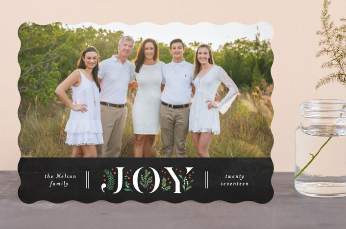 """Pine-filled joy"" - Holiday Photo Cards in Chalkboard by Jennifer Wick."