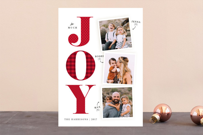 """Biggest Joy"" - Vintage Holiday Photo Cards in Poinsettia by Ellis."