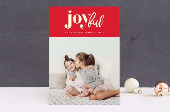 """joyfully yours"" - Modern Holiday Photo Cards in Berry by Rebecca Bowen."