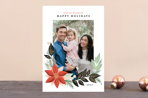 floral garland Holiday Photo Cards