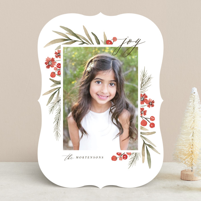 """""""Holiday Flowers"""" - Holiday Photo Cards in Holly Berry by Wildfield Paper Co.."""