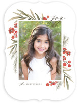 This is a red holiday photo card by Wildfield Paper Co. called Holiday Flowers with standard printing on smooth signature in standard.