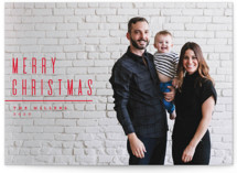 This is a red holiday photo card by Owl and Toad called Minimal with standard printing on smooth signature in standard.