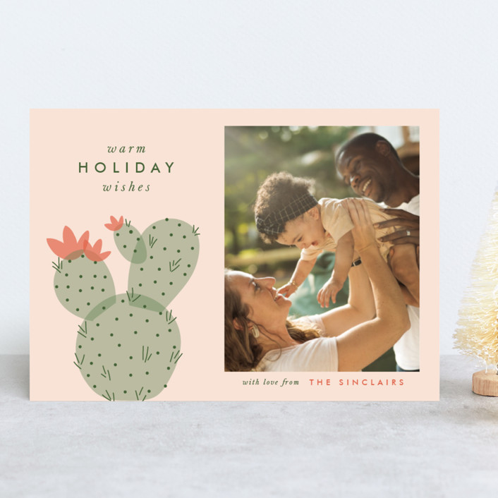 """holiday cactus"" - Holiday Photo Cards in Sunset by The Social Type."