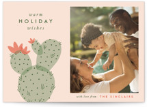 This is a pink holiday photo card by The Social Type called holiday cactus with standard printing on smooth signature in standard.