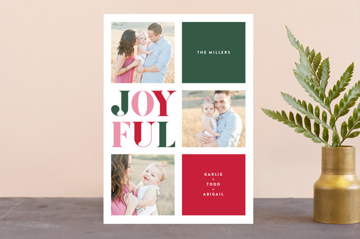 """""""Jolly Blocks"""" - Modern Holiday Photo Cards in Stocking by Carrie ONeal."""