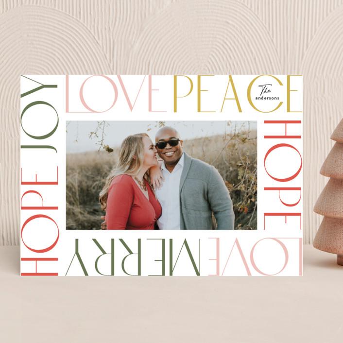 """Wordy Frame"" - Holiday Photo Cards in Festival by Phrosne Ras."