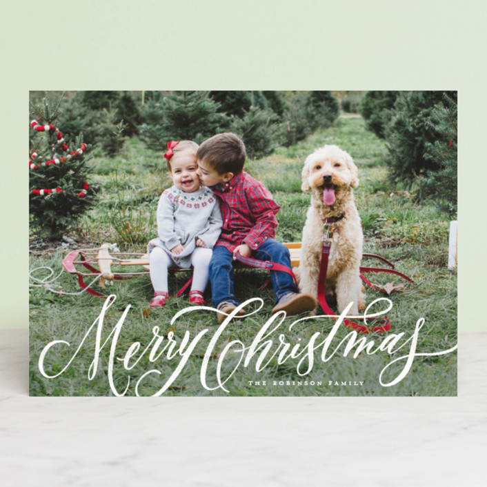 """Elegant Script Merry Christmas"" - Holiday Photo Cards in Winter by Wildfield Paper Co.."