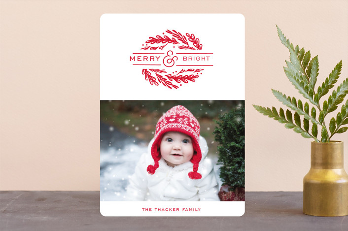 """""""dynamic foliage"""" - Holiday Photo Cards in Cherry by Cheer Up Press."""