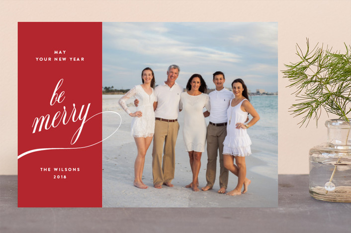 """Be Merry Days"" - Holiday Photo Cards in Crimson by Kimberly FitzSimons."