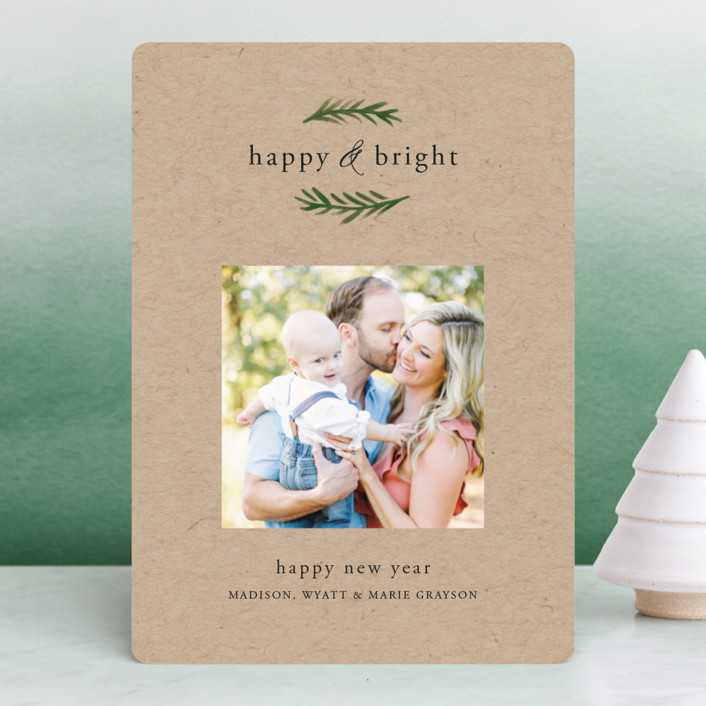 """Grateful & Hopeful"" - Holiday Photo Cards in Kraft by Amy Kross."