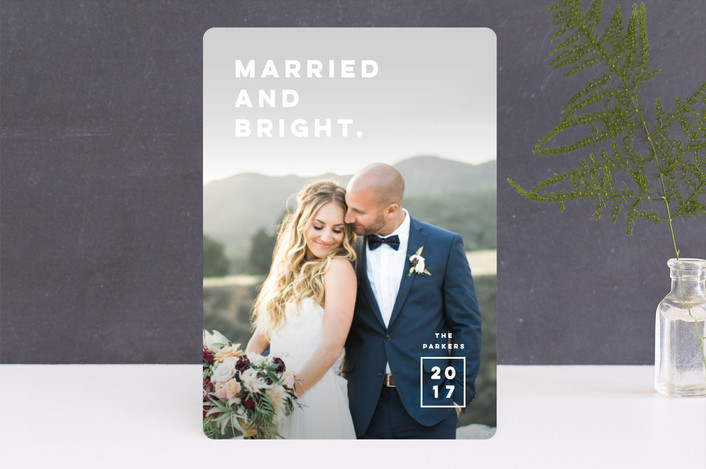 """""""Married. Bright."""" - Holiday Photo Cards in White Chocolate by Pink House Press."""
