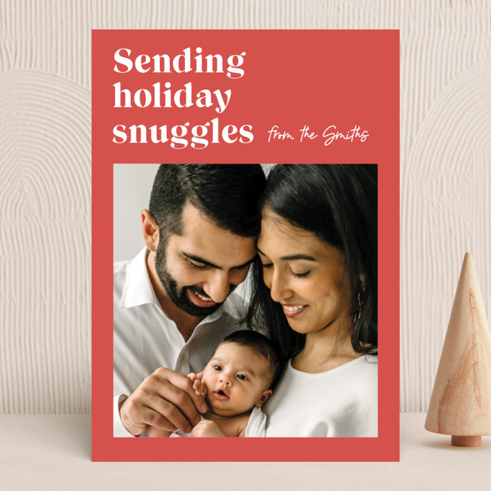 """""""Holiday Snuggles"""" - Modern Holiday Photo Cards in Melon by Catherine Culvenor."""
