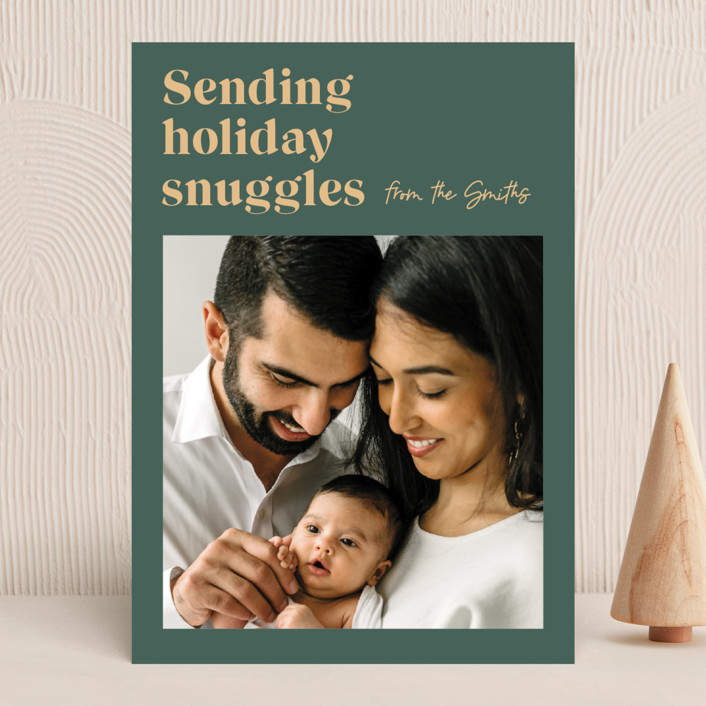 """""""Holiday Snuggles"""" - Funny Holiday Photo Cards in Sage by Catherine Culvenor."""