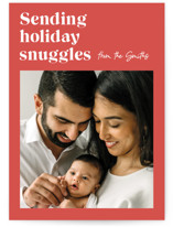 This is a orange holiday photo card by Catherine Culvenor called Holiday Snuggles with standard printing on smooth signature in standard.