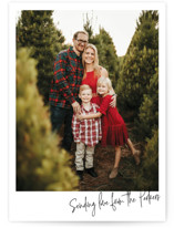 This is a black holiday photo card by Katharine Watson called Love Letter Script with standard printing on smooth signature in standard.