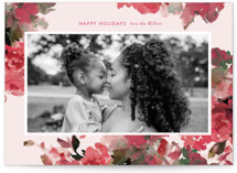 This is a pink holiday photo card by Lori Wemple called Floral Bouquet with standard printing on smooth signature in standard.