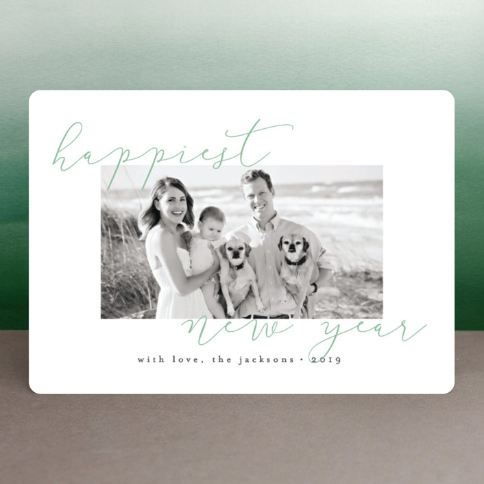 """""""Merriest Modern"""" - Holiday Photo Cards in Wintergreen by peony papeterie."""