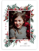 This is a red holiday photo card by Petra Kern called Bits of Joy with standard printing on smooth signature in standard.