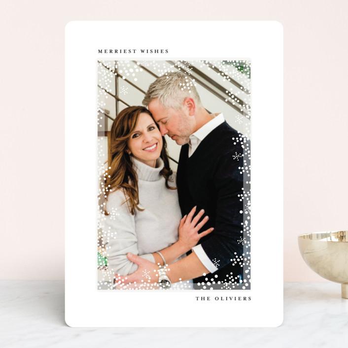 """Flurry Frame"" - Holiday Photo Cards in Ebony by Angela Thompson."