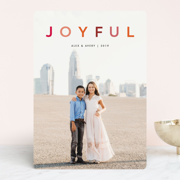 """joyful colorful"" - Modern Holiday Photo Cards in Rose by Snow and Ivy."