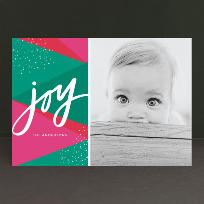 """Bright Geo Joy"" - Modern Holiday Photo Cards in Rose by Little Print Design."