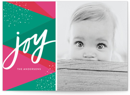 Bright Geo Joy Holiday Photo Cards
