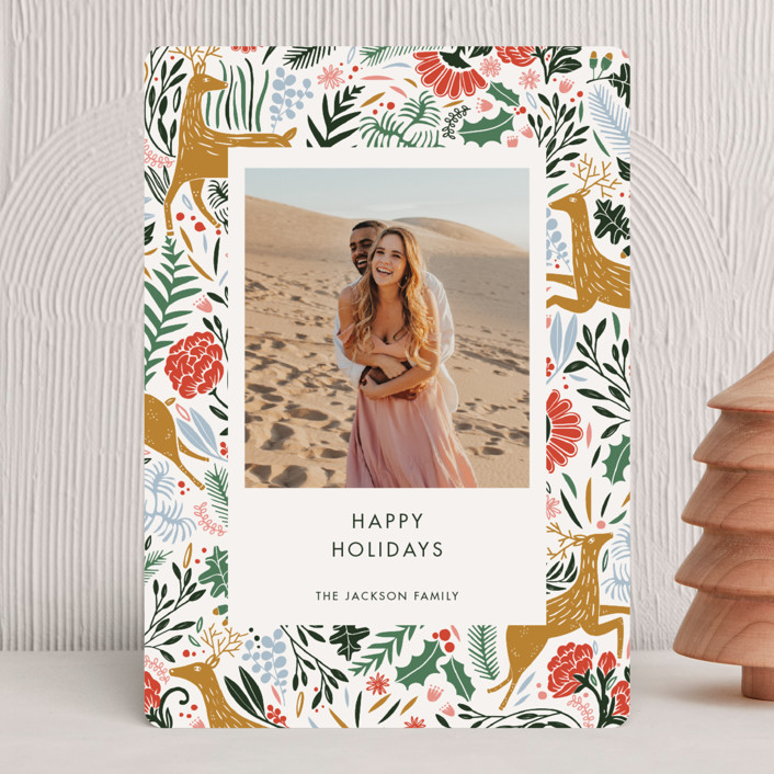 """Holiday Forest Photo"" - Bohemian Holiday Photo Cards in Jour by Made by Mosa."