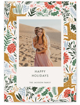 This is a beige holiday photo card by Made by Mosa called Holiday Forest Photo with standard printing on smooth signature in standard.