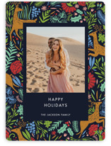 This is a blue holiday photo card by Made by Mosa called Holiday Forest Photo with standard printing on smooth signature in standard.
